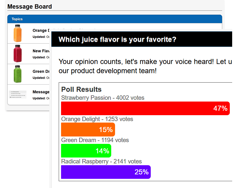 Message Board Poll Screen
